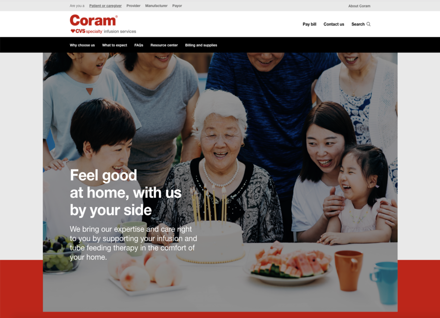 Screenshot of Coram CVS Specialty Infusion Services website